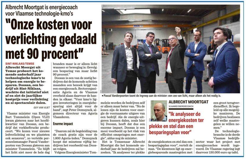 Artikel in Het Nieuwsblad over energiecoaches in technologische kmo's