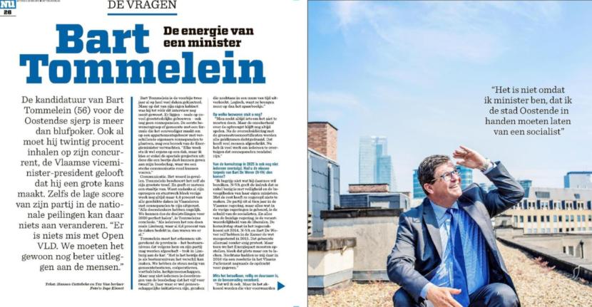 foto van interview met Bart Tommelein in het Nieuwsblad