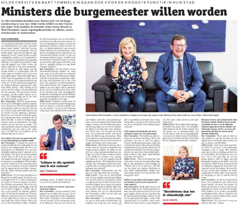 krantenknipsel Bart Tommelein en Hilde Crevits
